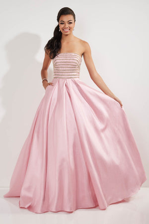Studio 17 12750 prom dress images.  Studio 17 12750 is available in these colors: Aqua Silver, Pink Gold.