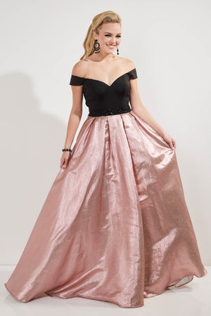 Studio 17 12756 prom dress images.  Studio 17 12756 is available in these colors: Black Pink Gold, White Sky Silver.