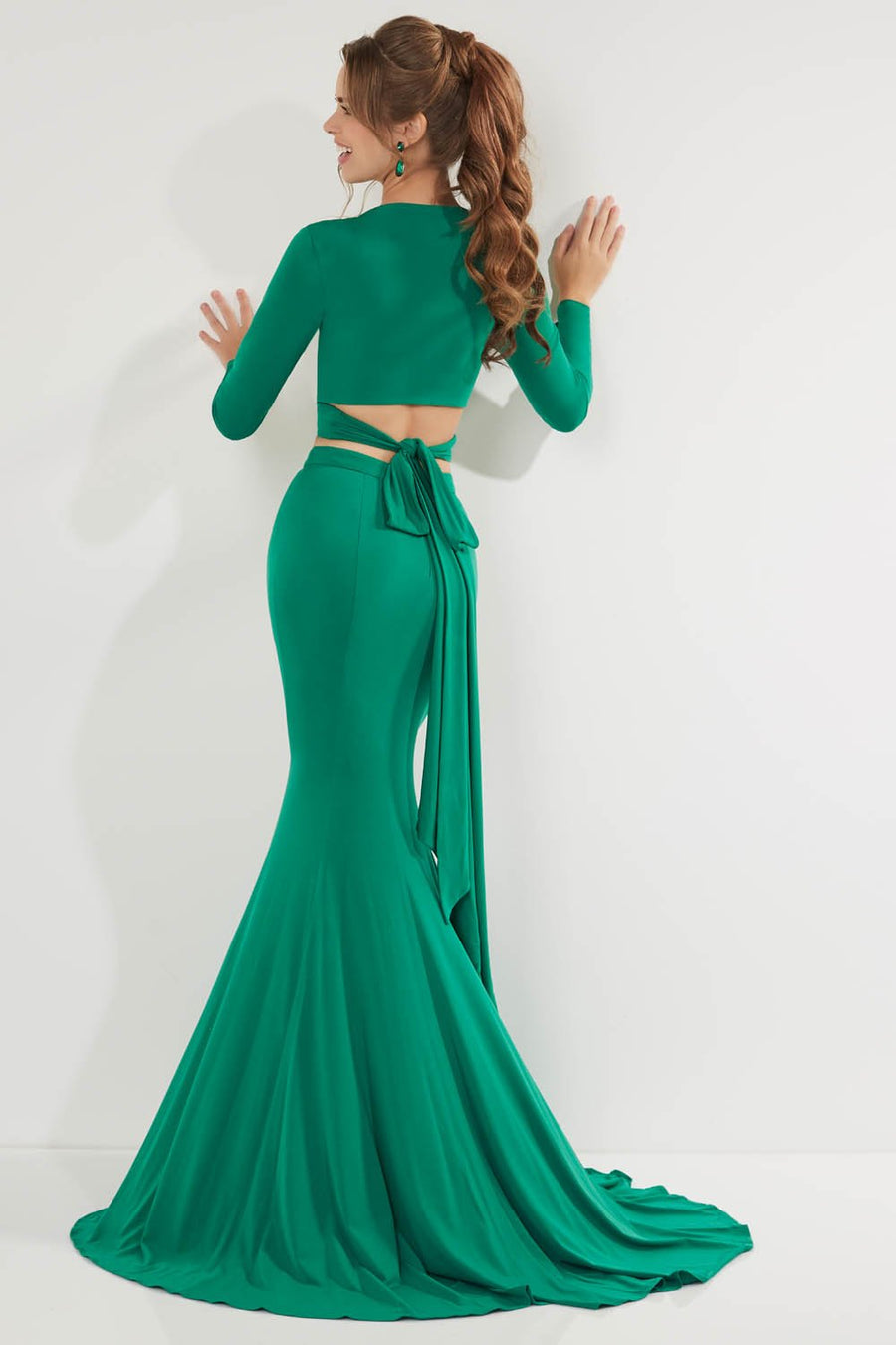 Studio 17 12759 prom dress images.  Studio 17 12759 is available in these colors: Black, Emerald, Wine.