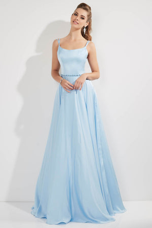 Studio 17 12761 prom dress images.  Studio 17 12761 is available in these colors: Black, Blush, Sky Blue.