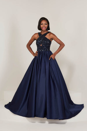 Tiffany 16327 prom dress images.  Tiffany 16327 is available in these colors: Black Hot Pink, Black White, Navy Navy.