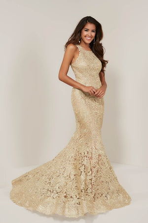 Tiffany 16329 prom dress images.  Tiffany 16329 is available in these colors: Gold, Silver.