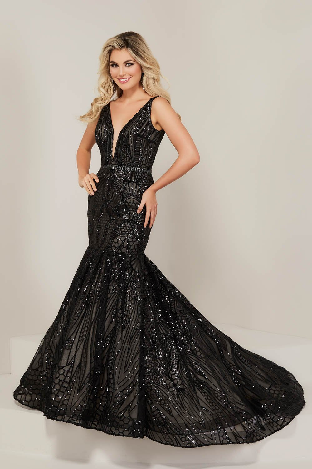 Tiffany 16333 prom dress images.  Tiffany 16333 is available in these colors: Black, Ivory, Rose Gold, Royal.