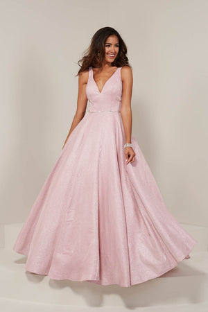 Tiffany 16334 prom dress images.  Tiffany 16334 is available in these colors: Champagne, Gunmetal, Midnight, Pink, Wine.