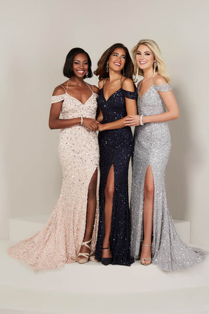 Tiffany 16335 prom dress images.  Tiffany 16335 is available in these colors: Blush, Bridal Silver, Navy.