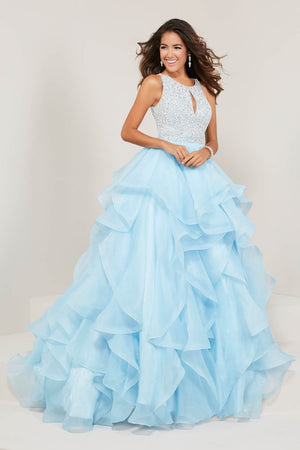 Tiffany 16338 prom dress images.  Tiffany 16338 is available in these colors: Black, Ivory, Orchid, Pomegranate, Sky.