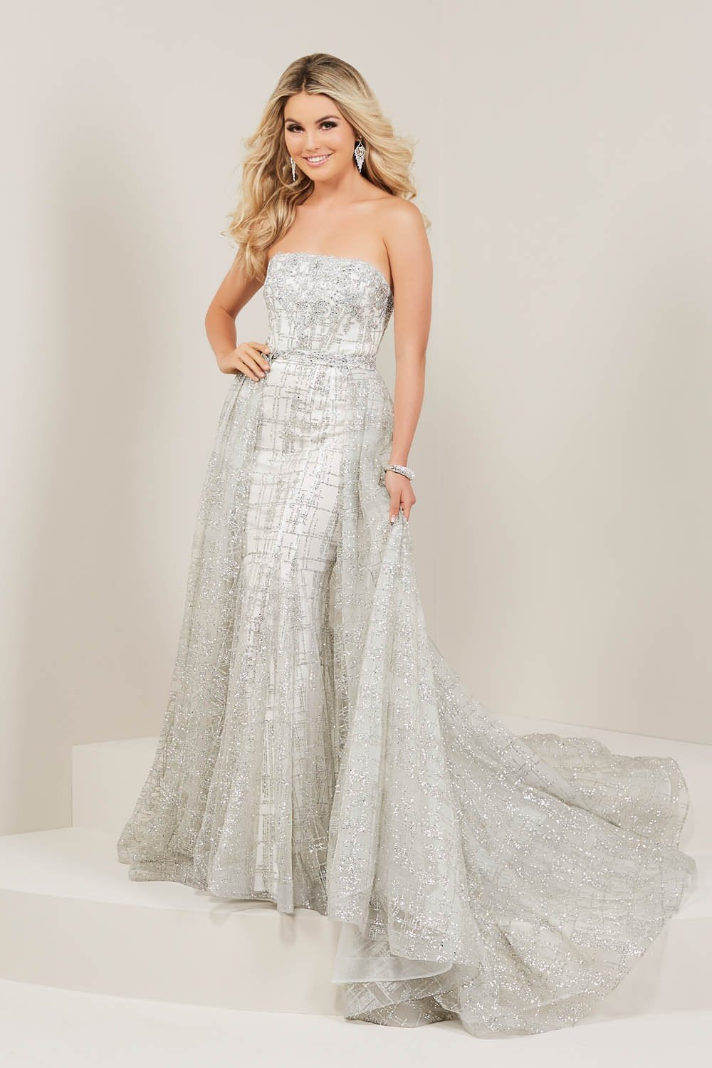 Tiffany 16339 prom dress images.  Tiffany 16339 is available in these colors: Black, Rose Gold, Silver.