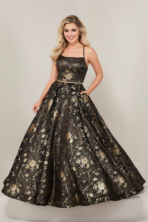 Tiffany 16340 prom dress images.  Tiffany 16340 is available in these colors: Black Gold, China Blue.