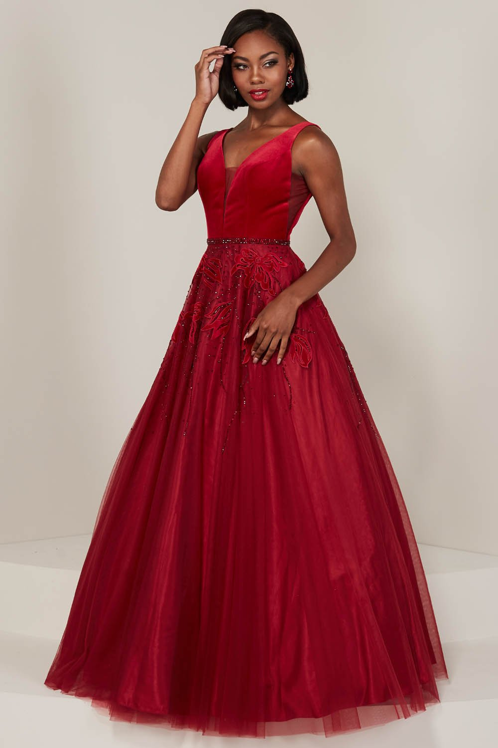 Tiffany 16342 prom dress images.  Tiffany 16342 is available in these colors: Black, Peacock, Red.