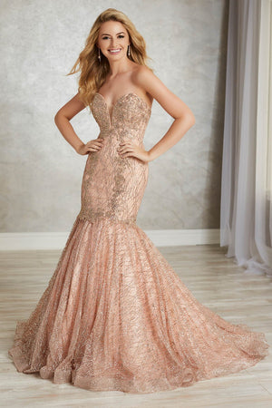 Tiffany 16343 prom dress images.  Tiffany 16343 is available in these colors: Black, Rose Gold, Silver, Wine.