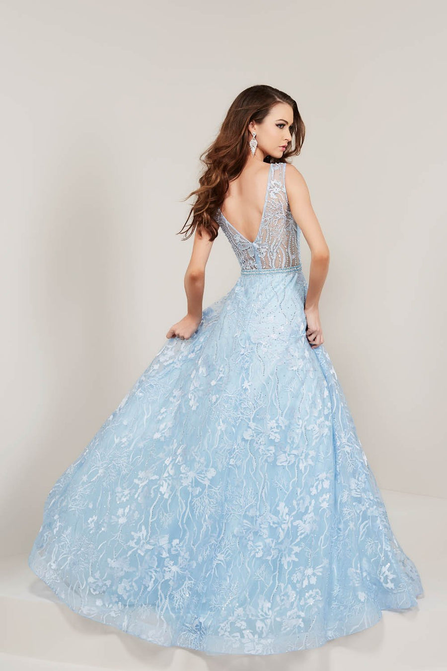 Tiffany 16346 prom dress images.  Tiffany 16346 is available in these colors: Ivory, Sky.
