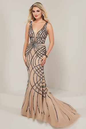 Tiffany 16347 prom dress images.  Tiffany 16347 is available in these colors: Black Rose Gold, Blush Silver, Champagne Gunmetal.