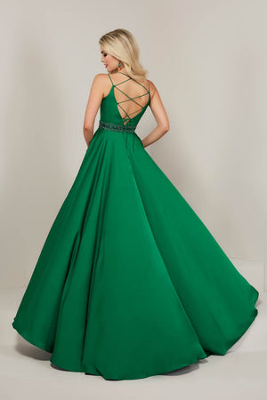 Tiffany 16348 prom dress images.  Tiffany 16348 is available in these colors: Emerald, Royal, Sunshine, White.