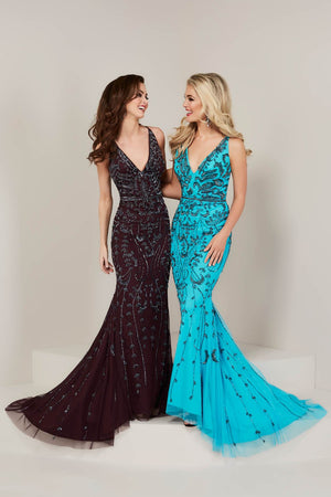 Tiffany 16349 prom dress images.  Tiffany 16349 is available in these colors: Black Black, Merlot Gunmetal, Turquoise Gunmetal.