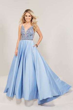 Tiffany 16350 prom dress images.  Tiffany 16350 is available in these colors: Cornflower, Mink, Red.
