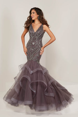 Tiffany 16351 prom dress images.  Tiffany 16351 is available in these colors: Champagne Gunmetal, Slate Gunmetal, Wine Wine.
