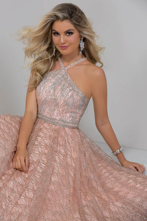 Tiffany 16352 prom dress images.  Tiffany 16352 is available in these colors: Black, Rose Gold, Silver.