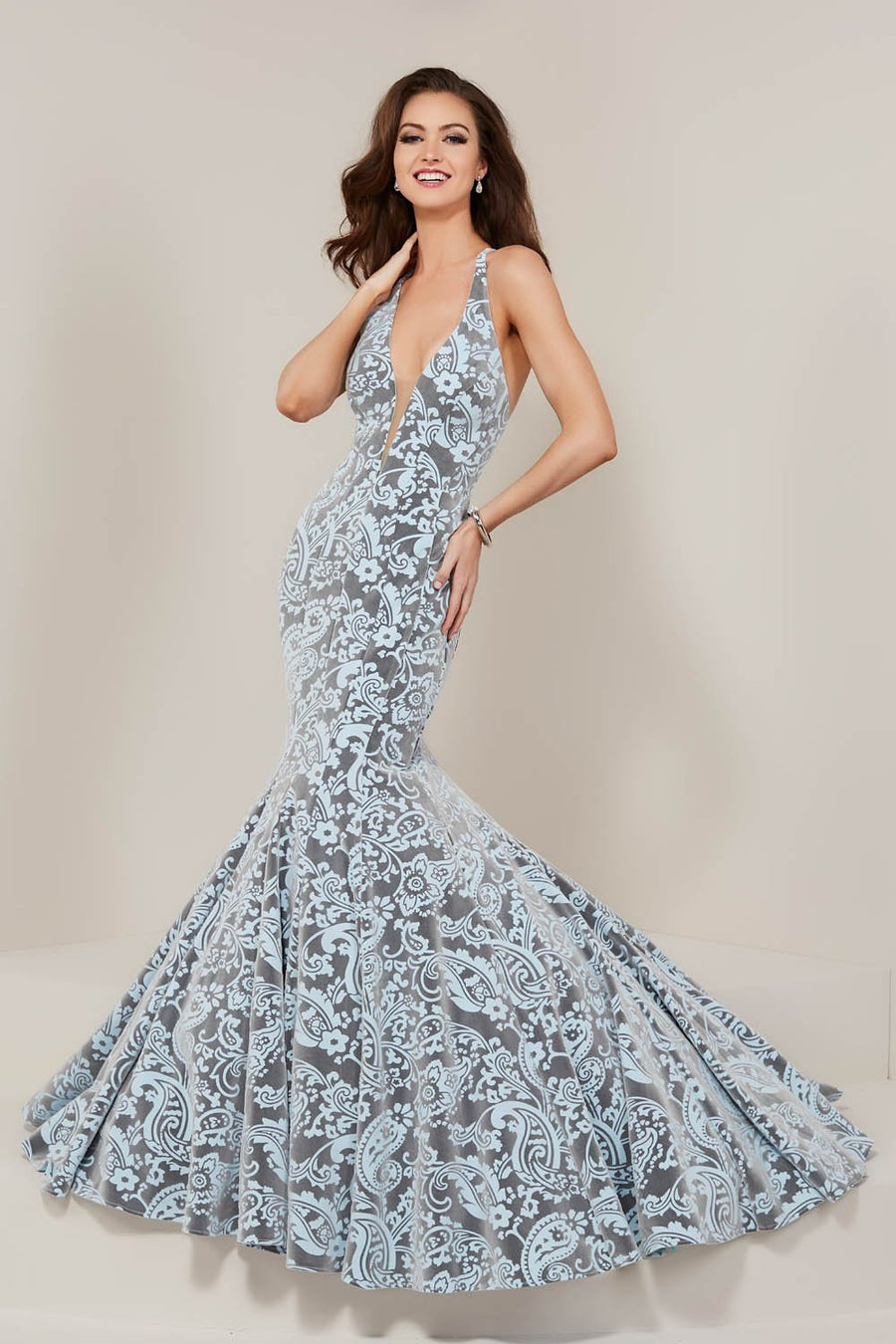 Tiffany 16354 prom dress images.  Tiffany 16354 is available in these colors: Ivory Platinum, Rose Platinum, Sky Platinum.