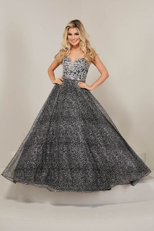 Tiffany 16355 prom dress images.  Tiffany 16355 is available in these colors: Rose Rose Gold, Silver Black, Silver Sky.