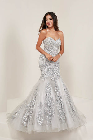 Tiffany 16356 prom dress images.  Tiffany 16356 is available in these colors: Black Nude, Silver Silver.