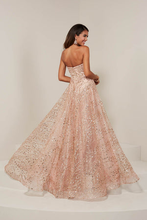 Tiffany 16357 prom dress images.  Tiffany 16357 is available in these colors: Gold, Rose Pink, Silver.