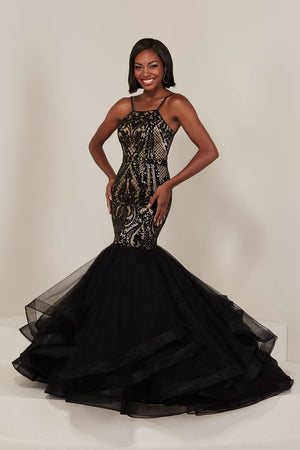 Tiffany 16359 prom dress images.  Tiffany 16359 is available in these colors: Black Nude, Ivory Nude.