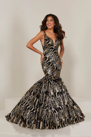 Tiffany 16361 prom dress images.  Tiffany 16361 is available in these colors: Black Gold, Gold Gold, Wine Gold.