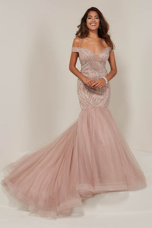 Tiffany 16363 prom dress images.  Tiffany 16363 is available in these colors: Black Nude, Dusty Rose Rose, Red Red.