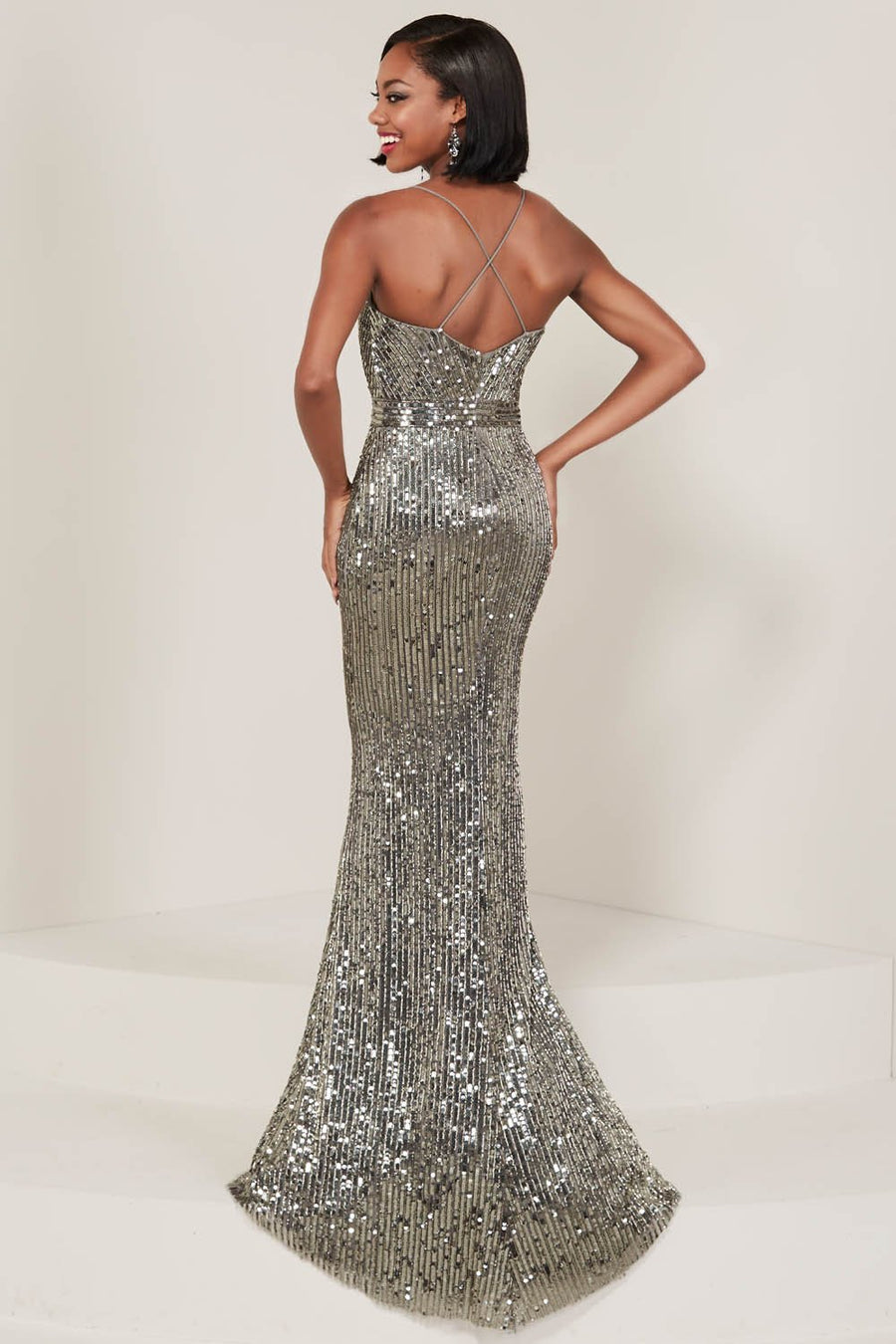 Tiffany 16365 prom dress images.  Tiffany 16365 is available in these colors: Black, Charcoal, Gold.