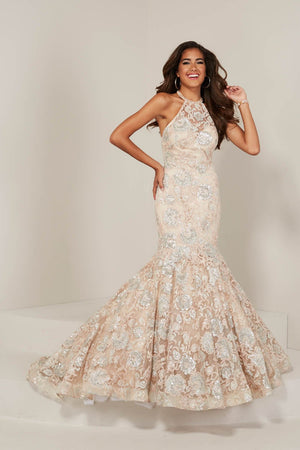 Tiffany 16366 prom dress images.  Tiffany 16366 is available in these colors: Black Gold, Platinum Slate, Rose Blush.