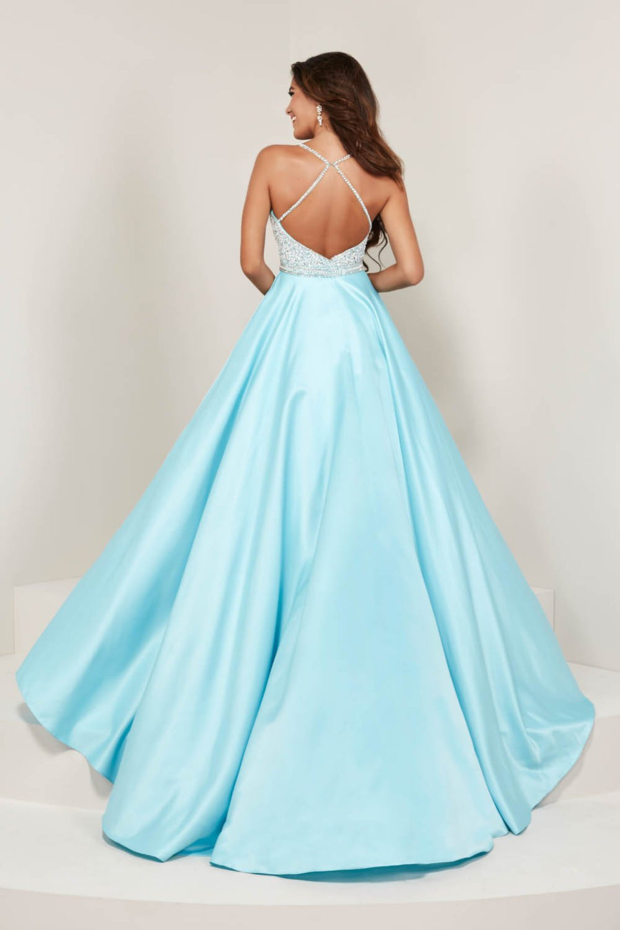 Tiffany 16367 prom dress images.  Tiffany 16367 is available in these colors: Ivory, Light Pink, Sky Blue.