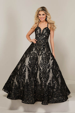 Tiffany 16369 prom dress images.  Tiffany 16369 is available in these colors: Black Nude, Blue Nude, Ivory Nude.