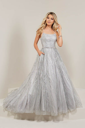 Tiffany 16372 prom dress images.  Tiffany 16372 is available in these colors: Gold Gold, Silver Black, Silver Silver.