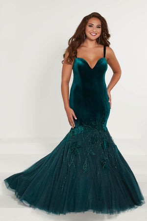 Tiffany 16374 prom dress images.  Tiffany 16374 is available in these colors: Black, Teal, Wine.