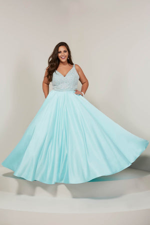 Tiffany 16375 prom dress images.  Tiffany 16375 is available in these colors: Aqua, Champagne, Ivory Black.