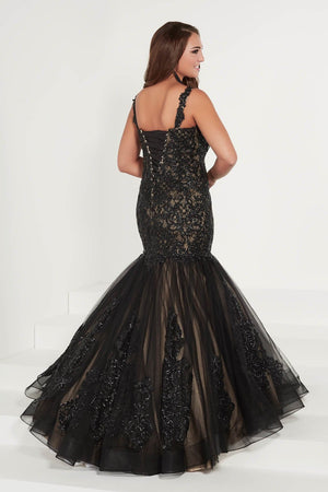 Tiffany 16378 prom dress images.  Tiffany 16378 is available in these colors: Black Nude, Silver Silver.