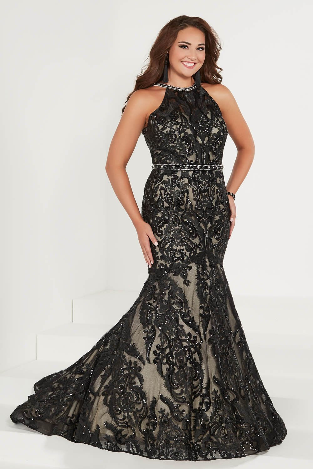 Tiffany 16380 prom dress images.  Tiffany 16380 is available in these colors: Black Nude, Ivory Nude, Turquoise Nude.