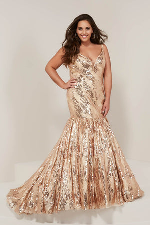 Tiffany 16384 prom dress images.  Tiffany 16384 is available in these colors: Black Gold, Gold Gold, Wine Gold.