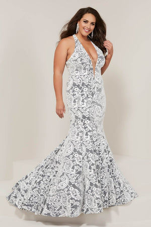 Tiffany 16385 prom dress images.  Tiffany 16385 is available in these colors: Blue Platinum, Ivory Platinum, Pink Platinum.
