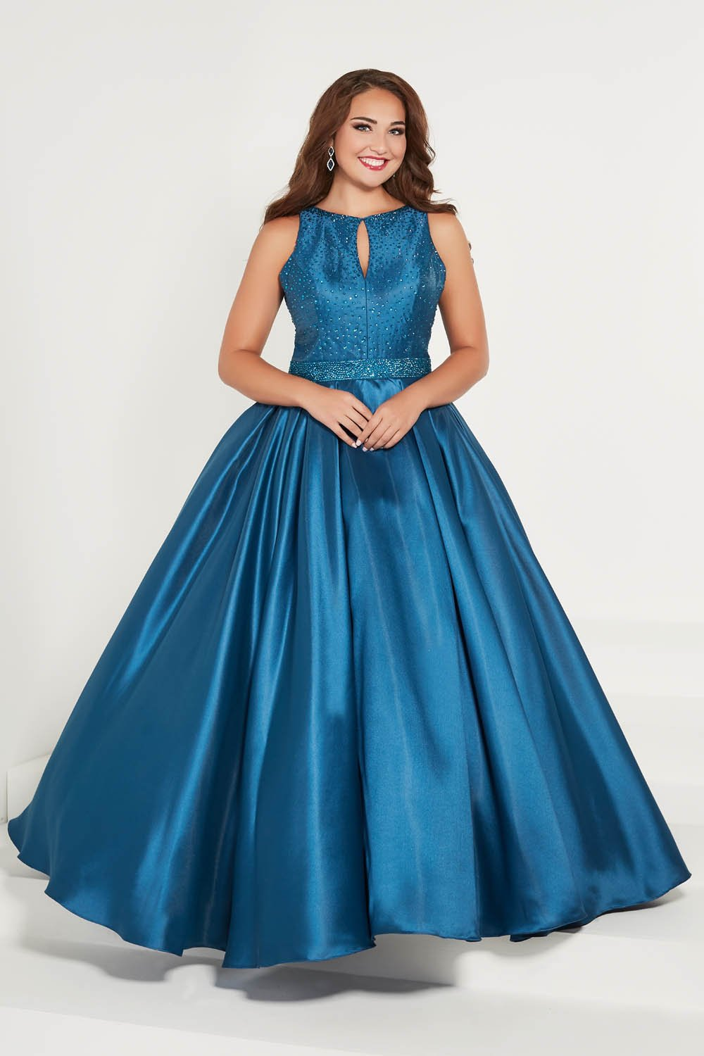 Tiffany 16386 prom dress images.  Tiffany 16386 is available in these colors: Red, Taupe, Teal.