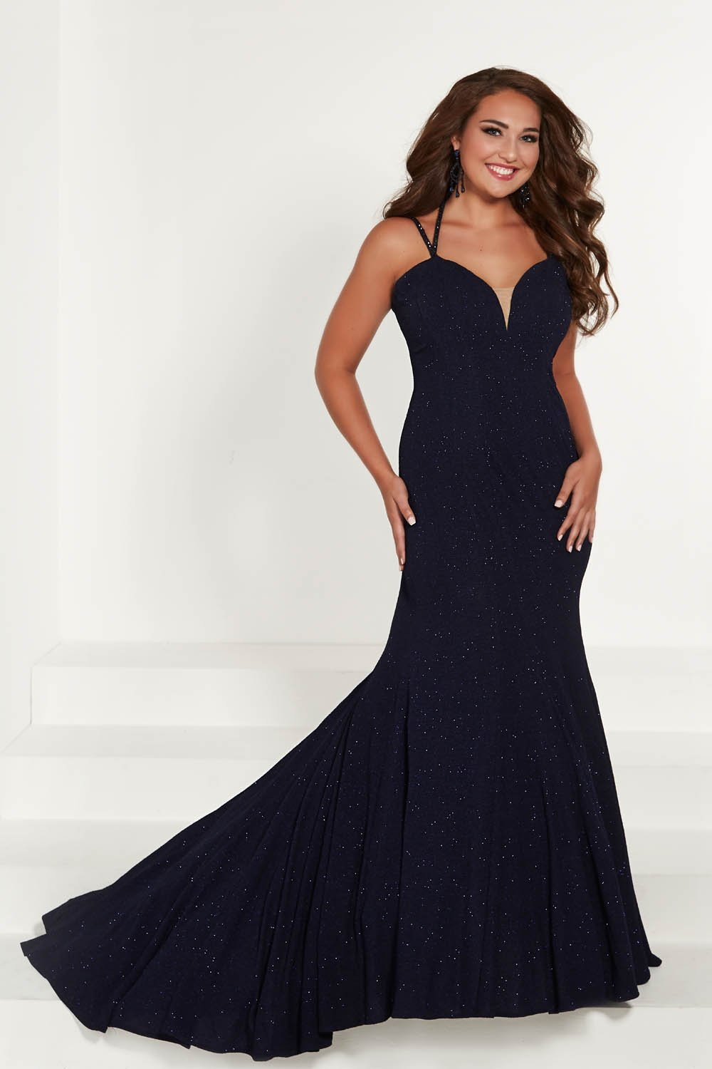 Tiffany 16387 prom dress images.  Tiffany 16387 is available in these colors: Emerald, Midnight, Red.
