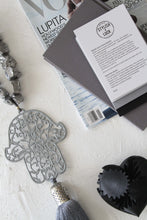Load image into Gallery viewer, Grey painted  Hamsa with silver metallic quartz stones.