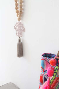 Boho style wood beads string with light pink Hamsa
