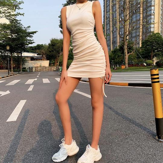 Ribbed Ruched Drawstring Side Mini Dress