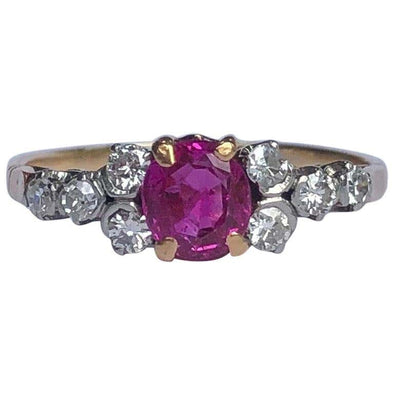 Art Deco Ruby and Diamond 18 Carat Gold Ring