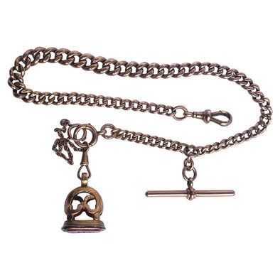 Victorian Albert Curb Chain with T-Bar and Carnelian Fob