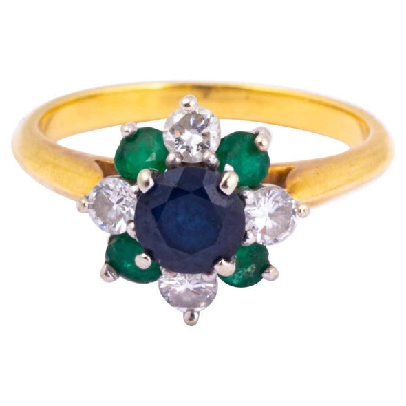Vintage Emerald, Sapphire and Diamond 18 Carat Gold Cluster Ring