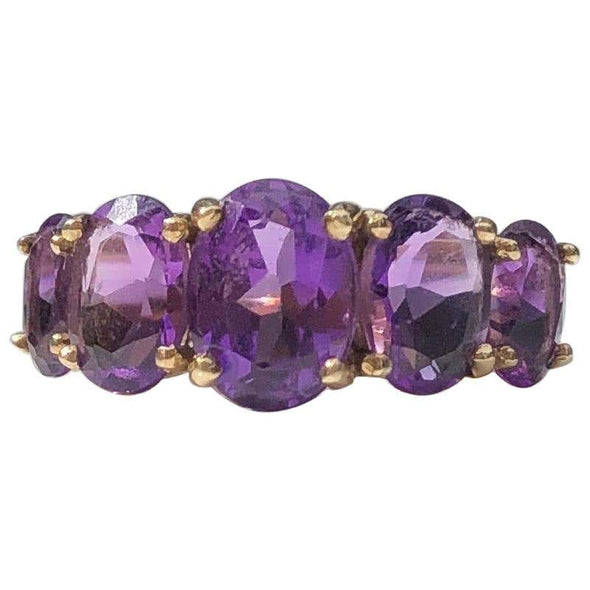 Vintage Amethyst Five-Stone and 9 Carat Gold