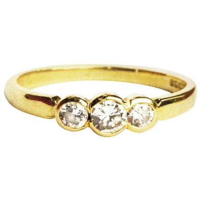 Vintage Diamond and 18 Carat Gold Three-Stone