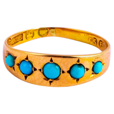 Edwardian Turquoise and 15 Carat Gold Five-Stone Band